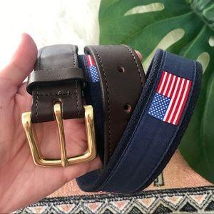 Vineyard Vines American Flag Leather Belt